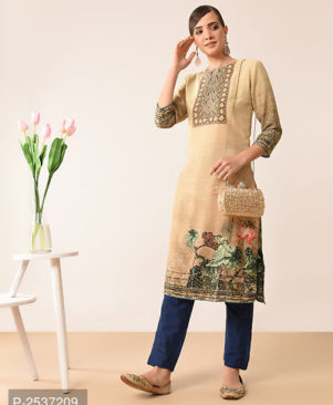 Beige Colour Crepe Straight Stitched Kurti for Women's