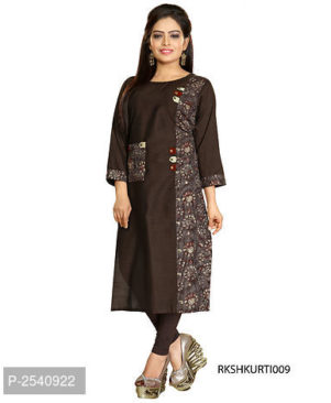 Brown Printed Cotton A-Line Kurti for Women's