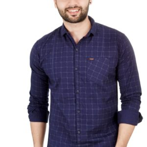 Blue CHECKED COTTON REGULAR FIT CASUAL SHIRT