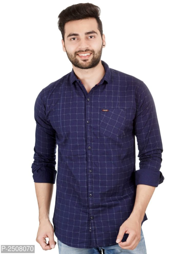 35Blue CHECKED COTTON REGULAR FIT CASUAL SHIRT