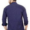 35.1Blue CHECKED COTTON REGULAR FIT CASUAL SHIRT