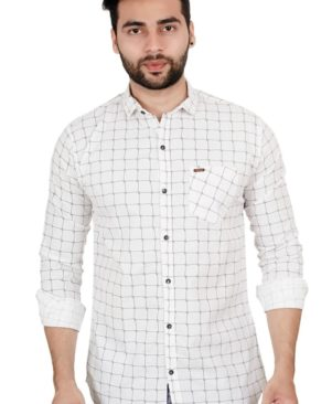 white CHECKED COTTON REGULAR FIT CASUAL SHIRT