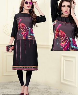 Vichitra Muslin Silk With Digital Printed Kurti