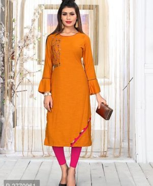 Orange Rayon Stitched Kurta For Women's