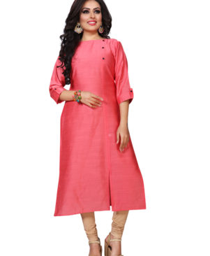 Bright Pink silky slub kurti with buttons