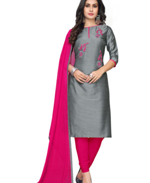 Gray and Pink cotton flax churidar material with embroidery