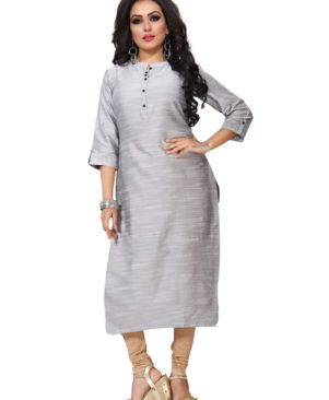 Silver Gray silky slub kurti with buttons
