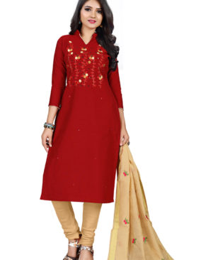 Red and Cream silky slub churidar material with embroidery