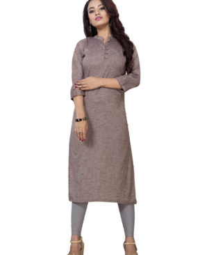 Brown poly cotton kurti with buttons