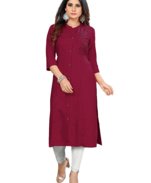 Maroon rayon slub kurti with embroidery
