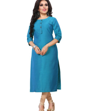 Sky Blue silky slub kurti with buttons