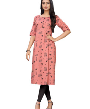 Peach cotton printed kurti with buttons