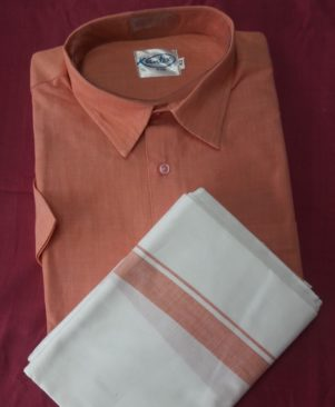 pure handloom cotton shirt and dhothi combo