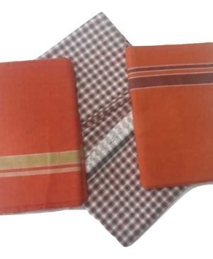 pure handloom cotton kavi mund and lungi combo