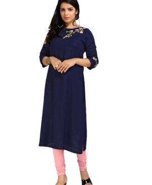 Navy Blue rayon slub embroidered kurti