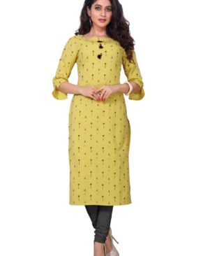 Anzac Yellow cotton flax printed kurti with buttons