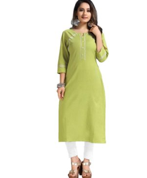 Olivine Green cotton flax kurti with thread work