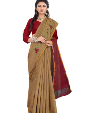 Wood Brown and Red south silk embroidered saree